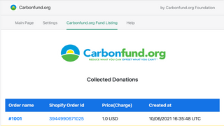 Shows Shopify order number and donations collected