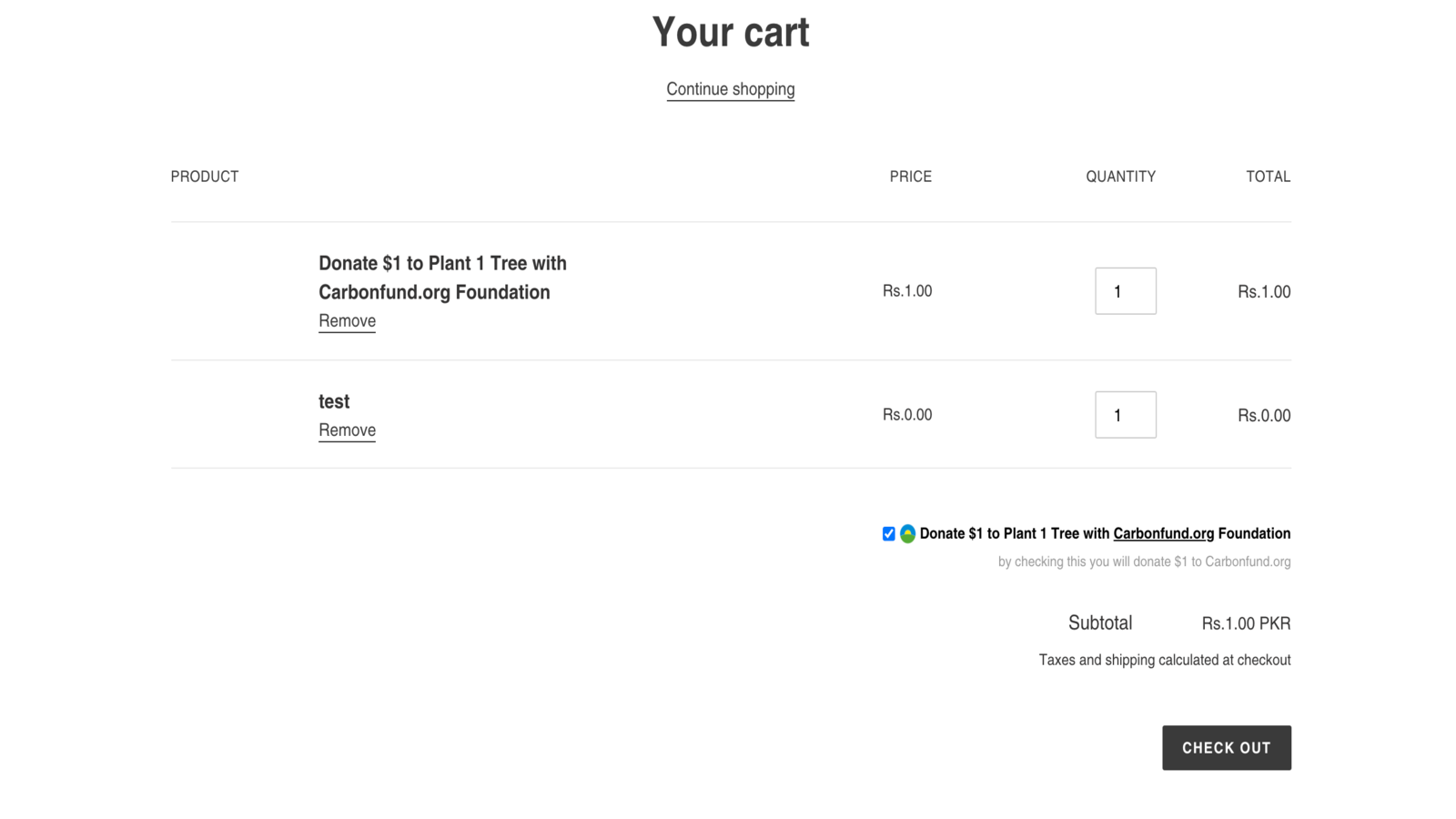 What our donation app would look like on your checkout page
