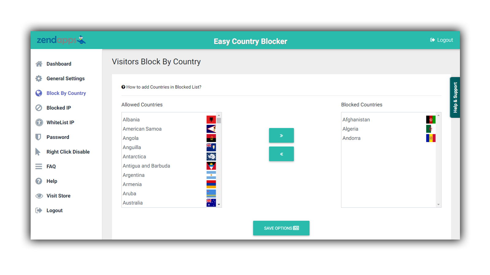 country blocker settings page
