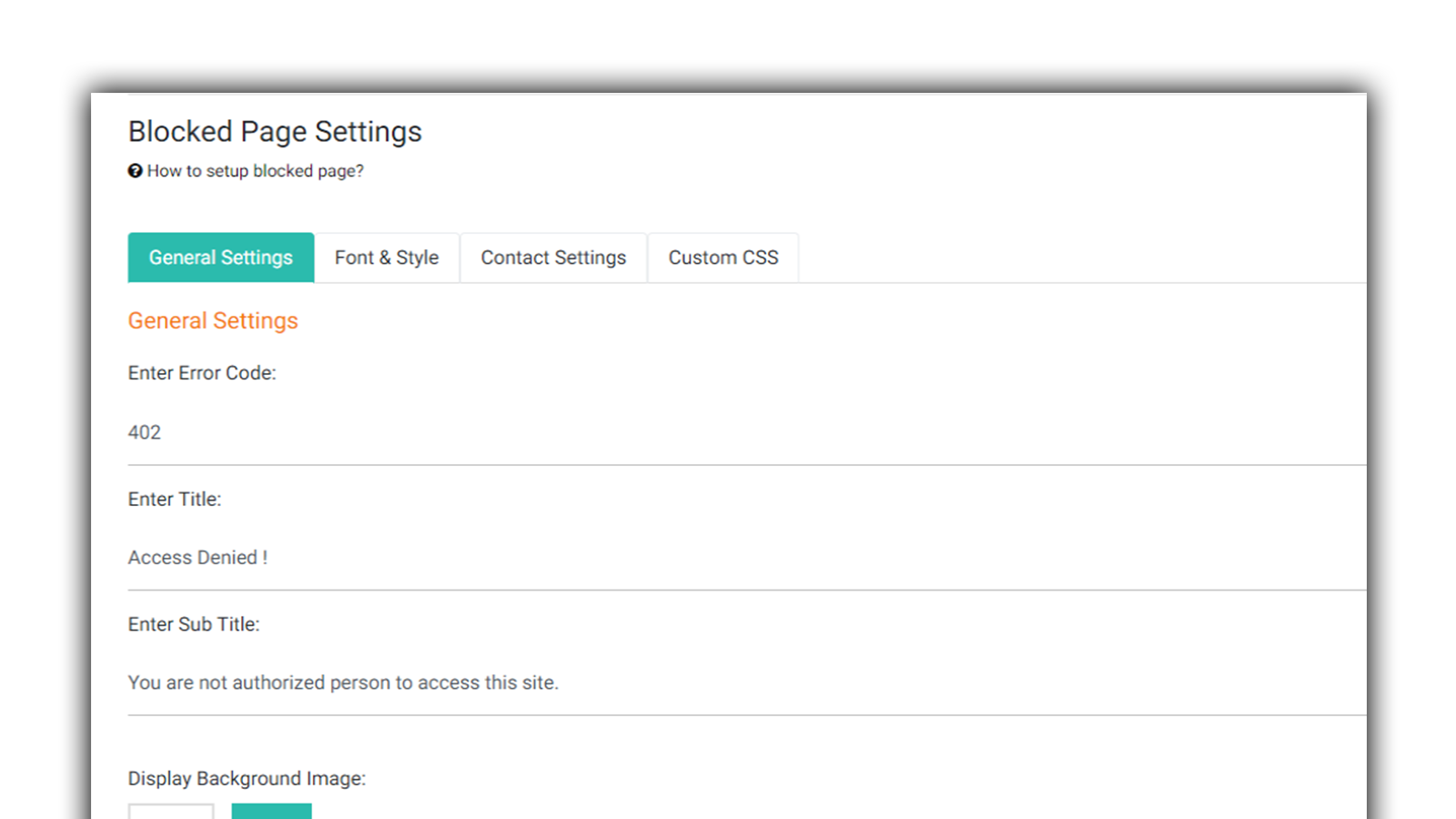 blocked page settings