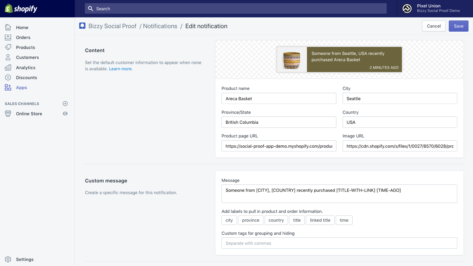 Bizzy Social Proof for Shopify notifications editor.