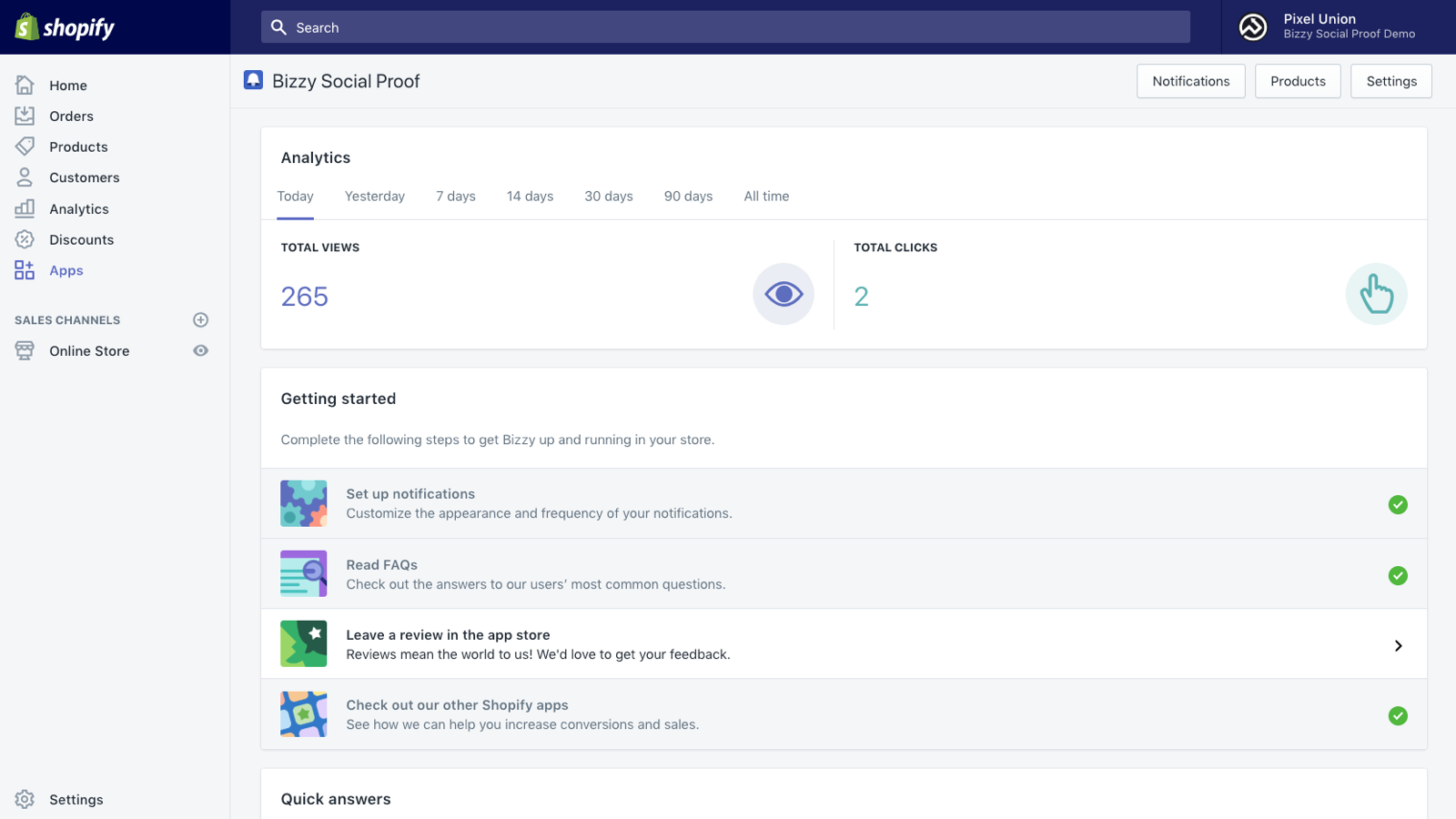 Bizzy Social Proof for Shopify dashboard.