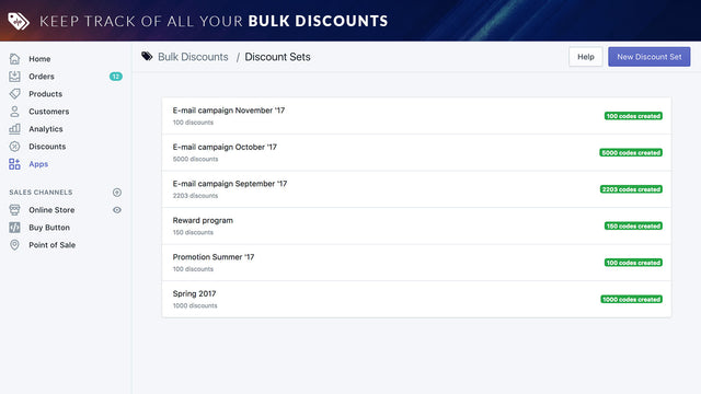 Keep track of your discount codes by promotion