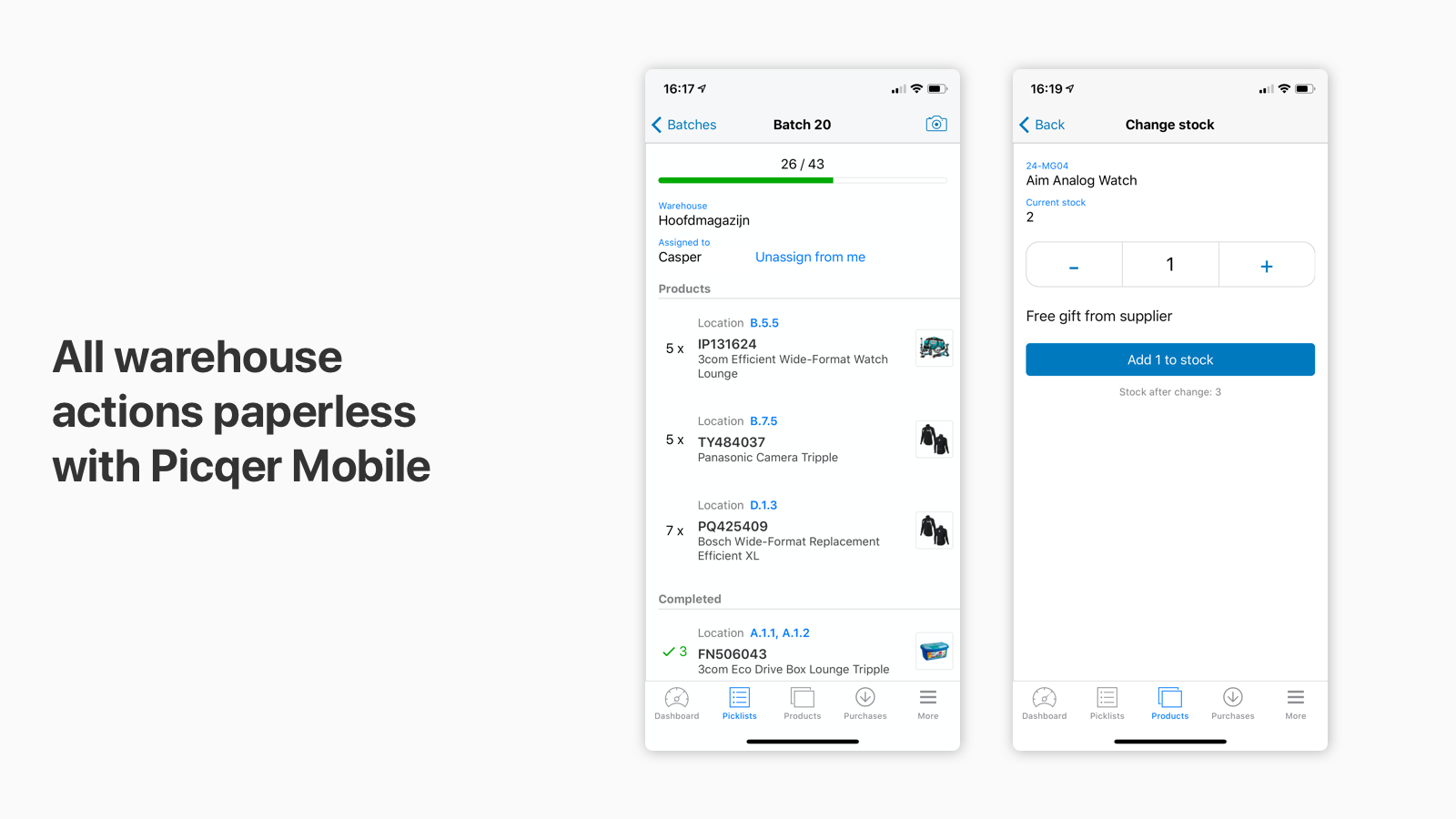 All warehouse actions available on mobile