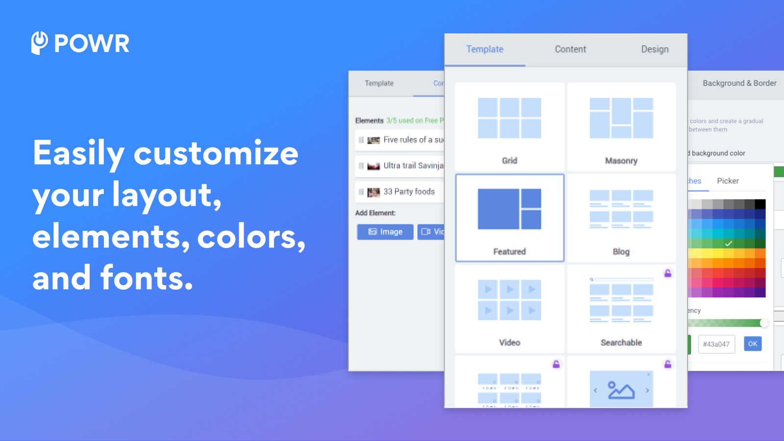 Customize elements to create your perfect Gallery.