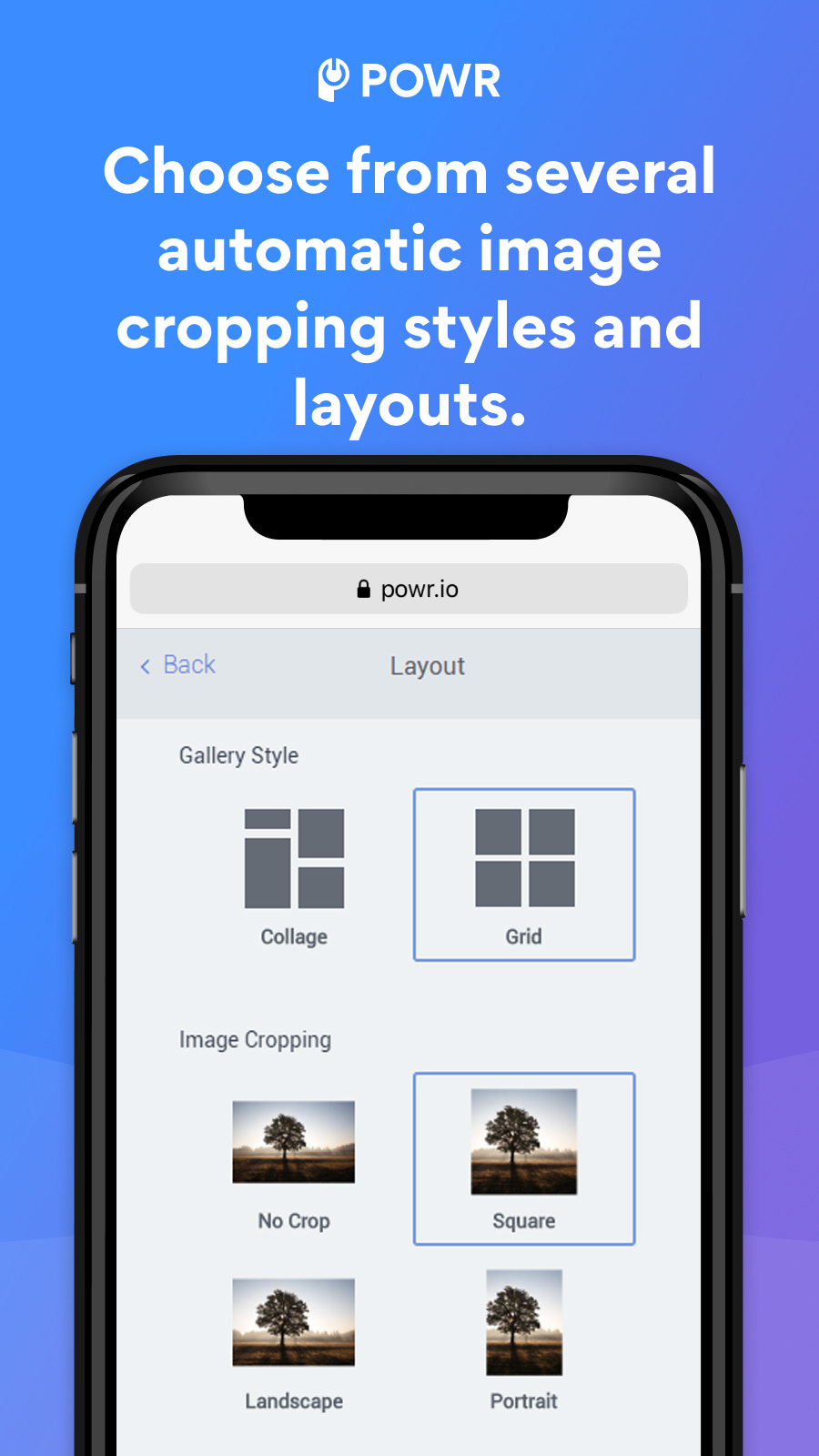 Gallery with automatic image cropping styles and layouts.