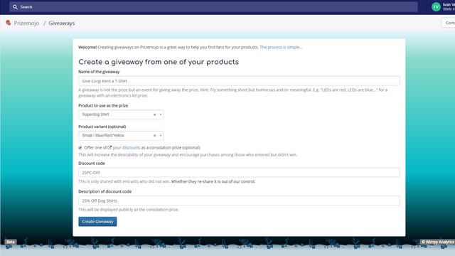 Creating a giveaway from a Shopify product catalog