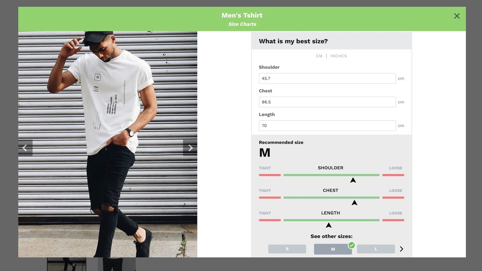 kiwi sizing, size chart, fit finder - Modal Size Recommender