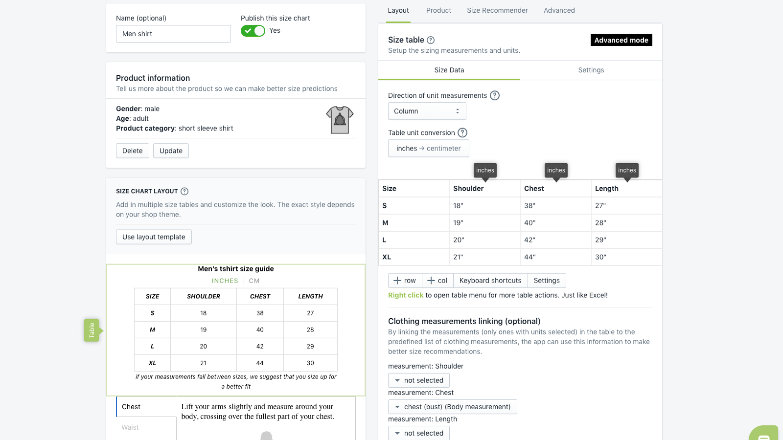 kiwi sizing, size chart, fit finder - Size Chart Table Editor