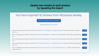 Update new reviews in each product by repeating the import