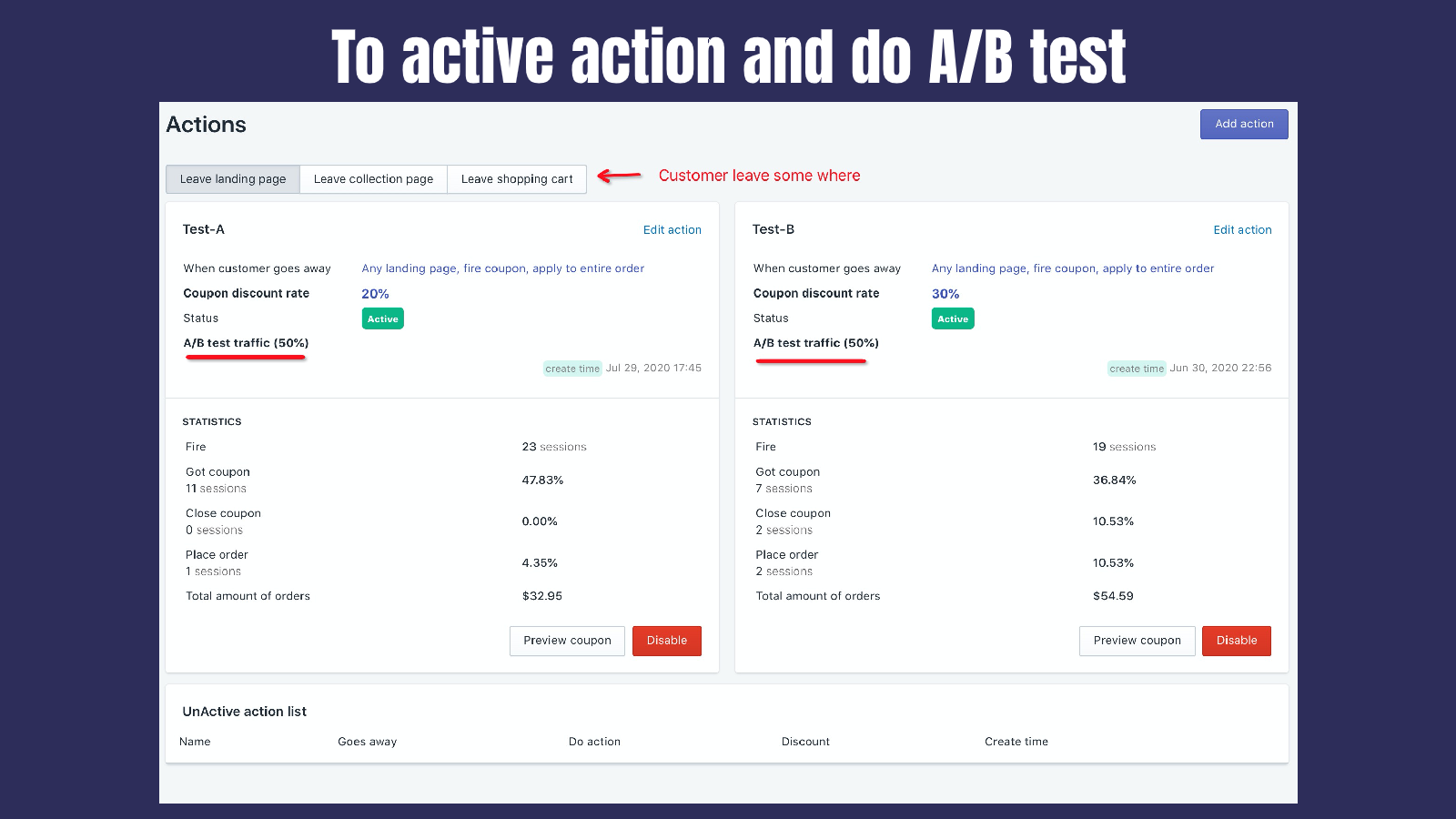 Action A/B test