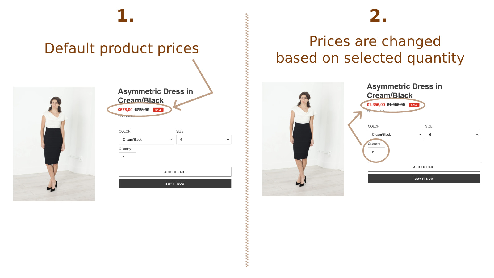 Prices are changed based on selected quantity in product detail