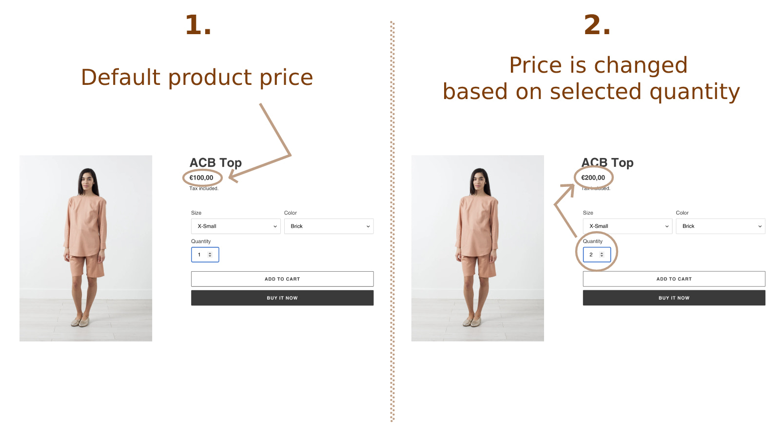 Price is changed based on selected quantity in product detail
