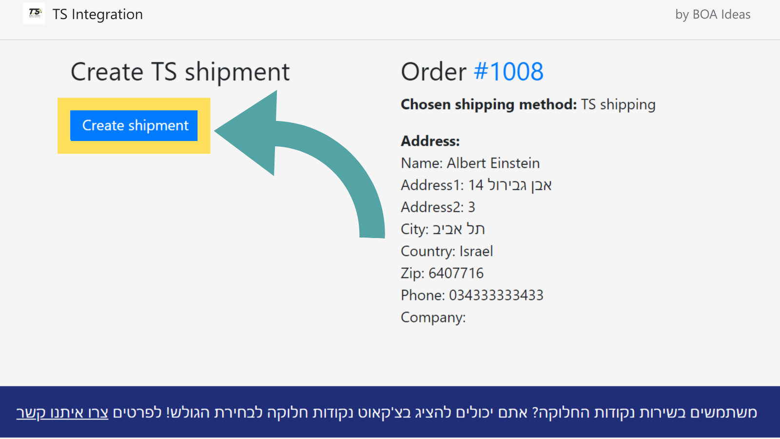 Create TS shipments with the shopify order data