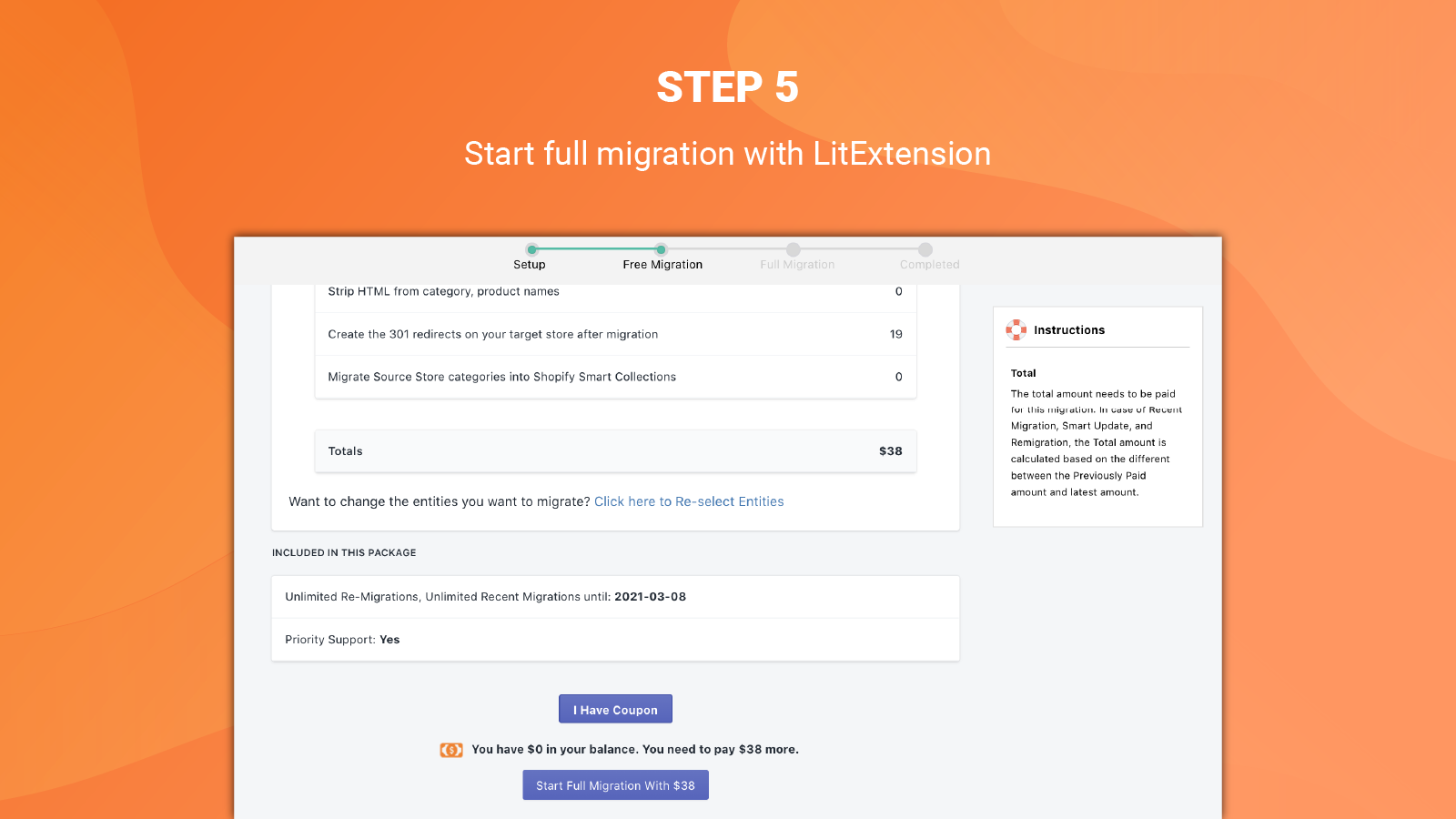 litextension magento to shopify migration app full migration