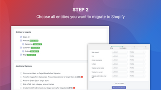 litextension magento to shopify migration app select entities