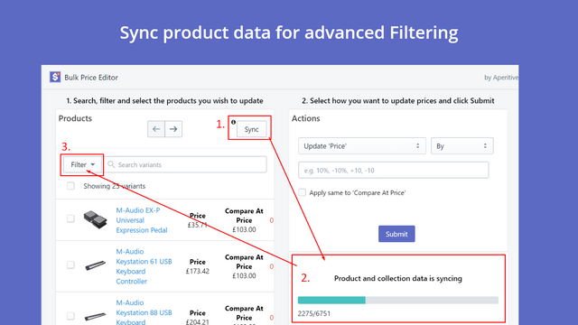 Sync Button - To filter by Type, Vendor or Collection