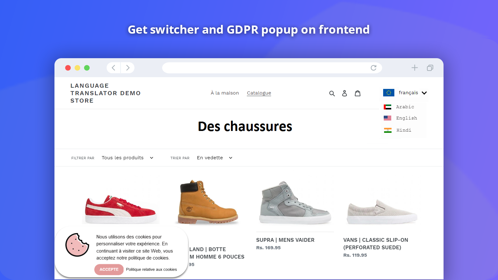 Shopify Langugae Switcher Front End