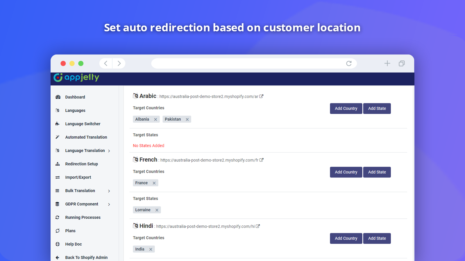 Shopify Language Switcher Free Country Based Redirection