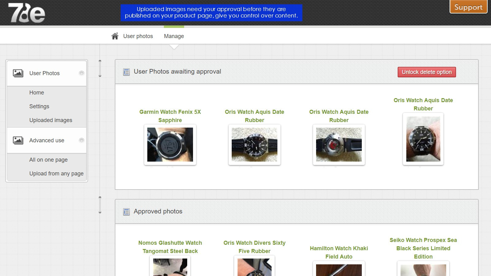 Uploaded images require approval before they are shown.