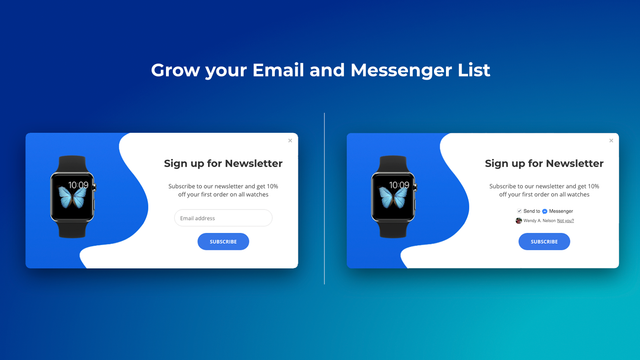 Email and Messenger popup
