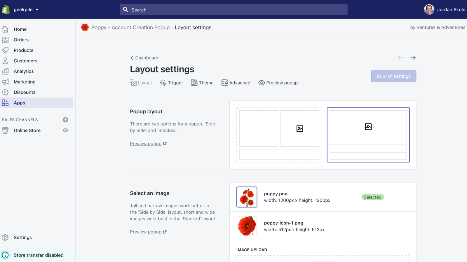 Configure the layout of your popup with simple settings
