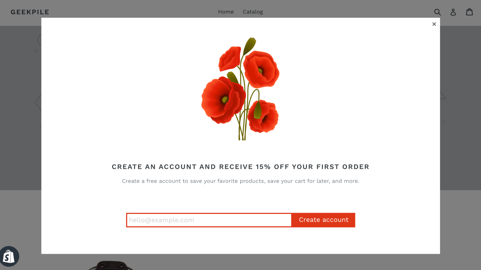 Poppy popup being displayed on a store