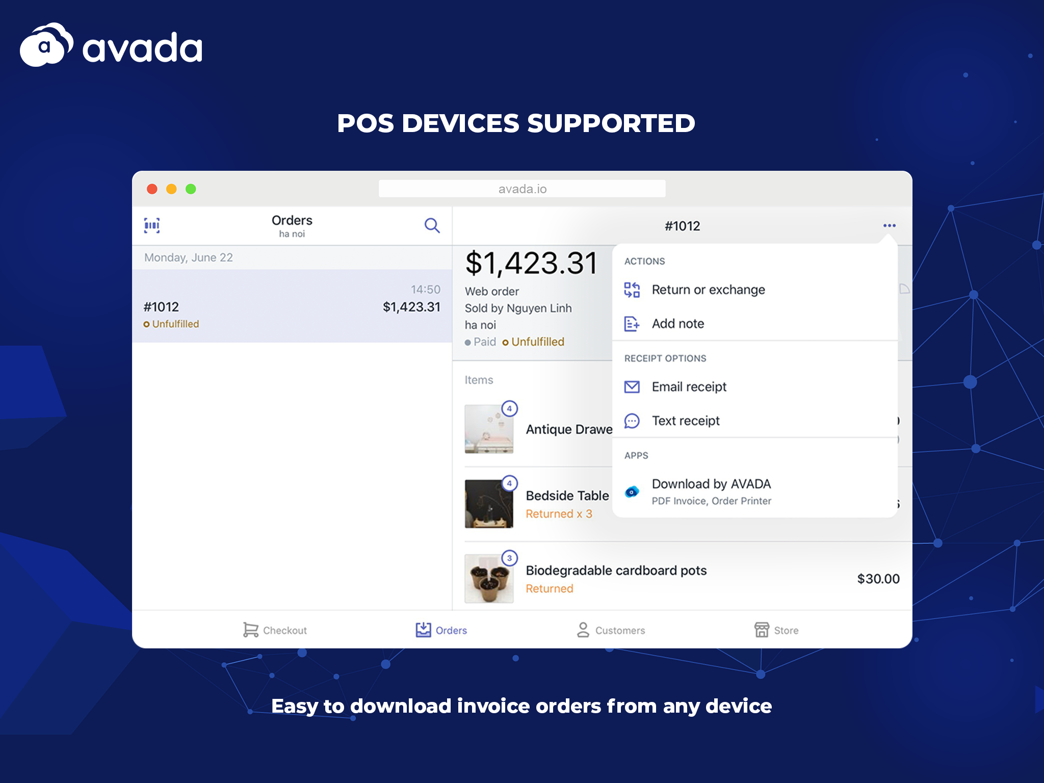 POS devices supported