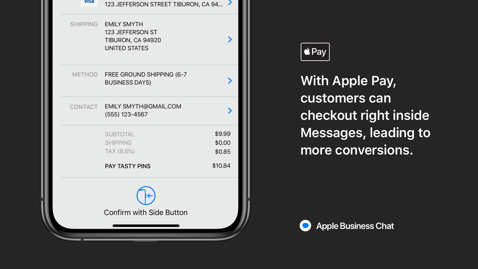 Your customers can checkout with Apple Pay right in Messages