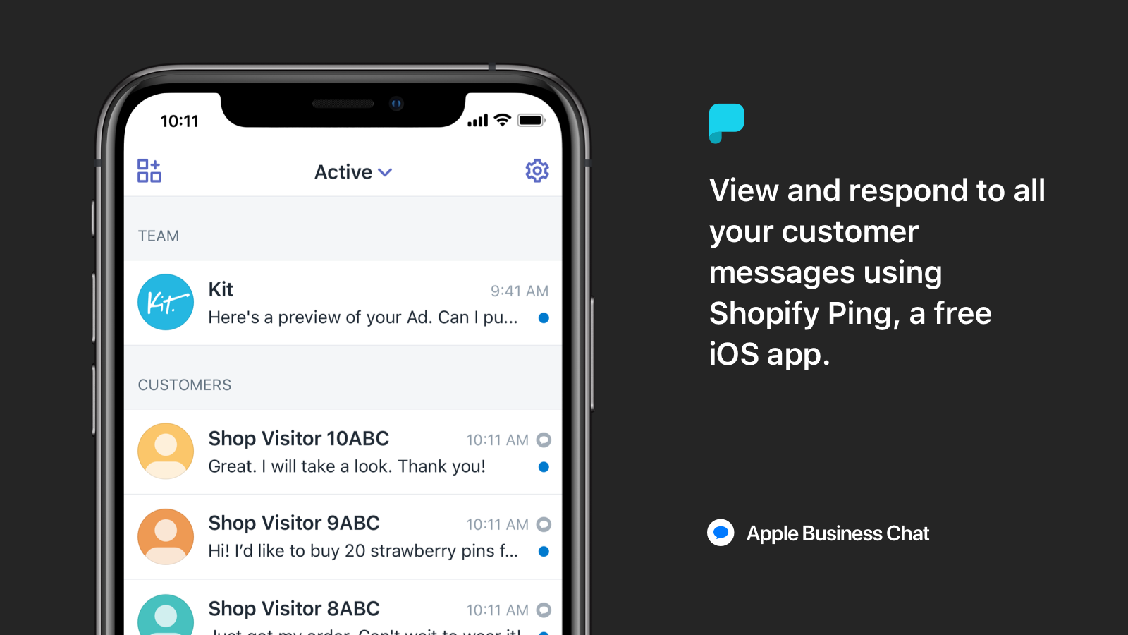 Respond to customer messages using Shopify Ping