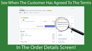 The app saves when the customer has agreed to the terms