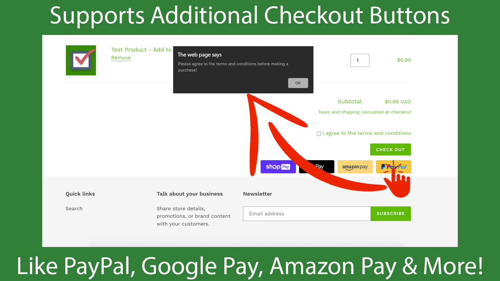 The app supports additional checkout buttons
