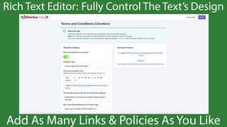 The settings of the Terms And Conditions Checkbox App