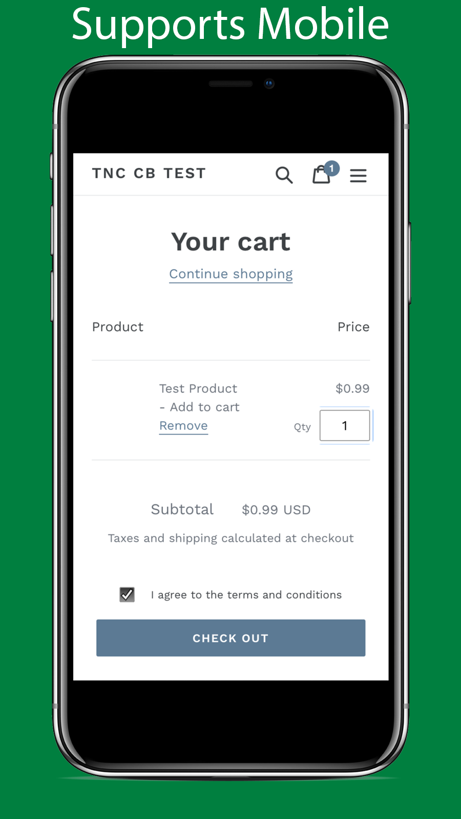 Mobile version of the app in action: The checkbox is in the cart
