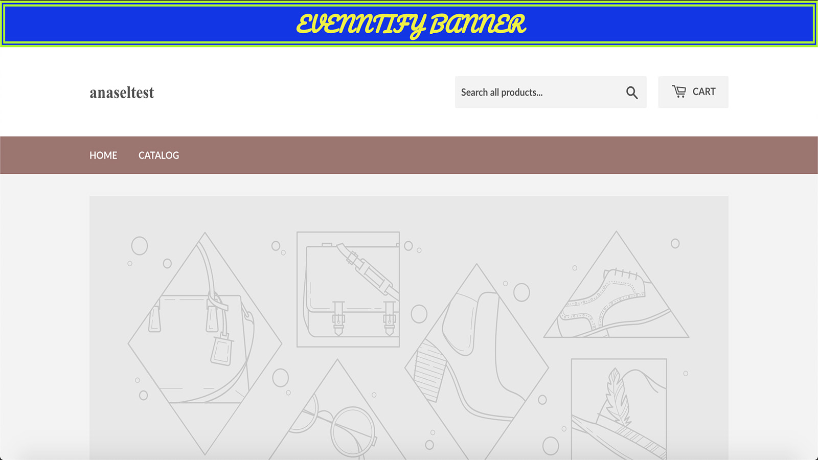 An example of a Shopify Store using Evenntify banner.