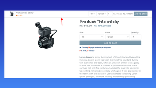 Sticky add to cart Bar on top