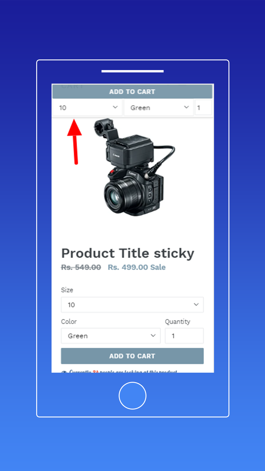 Sticky add to cart Only Option and Buynow Button