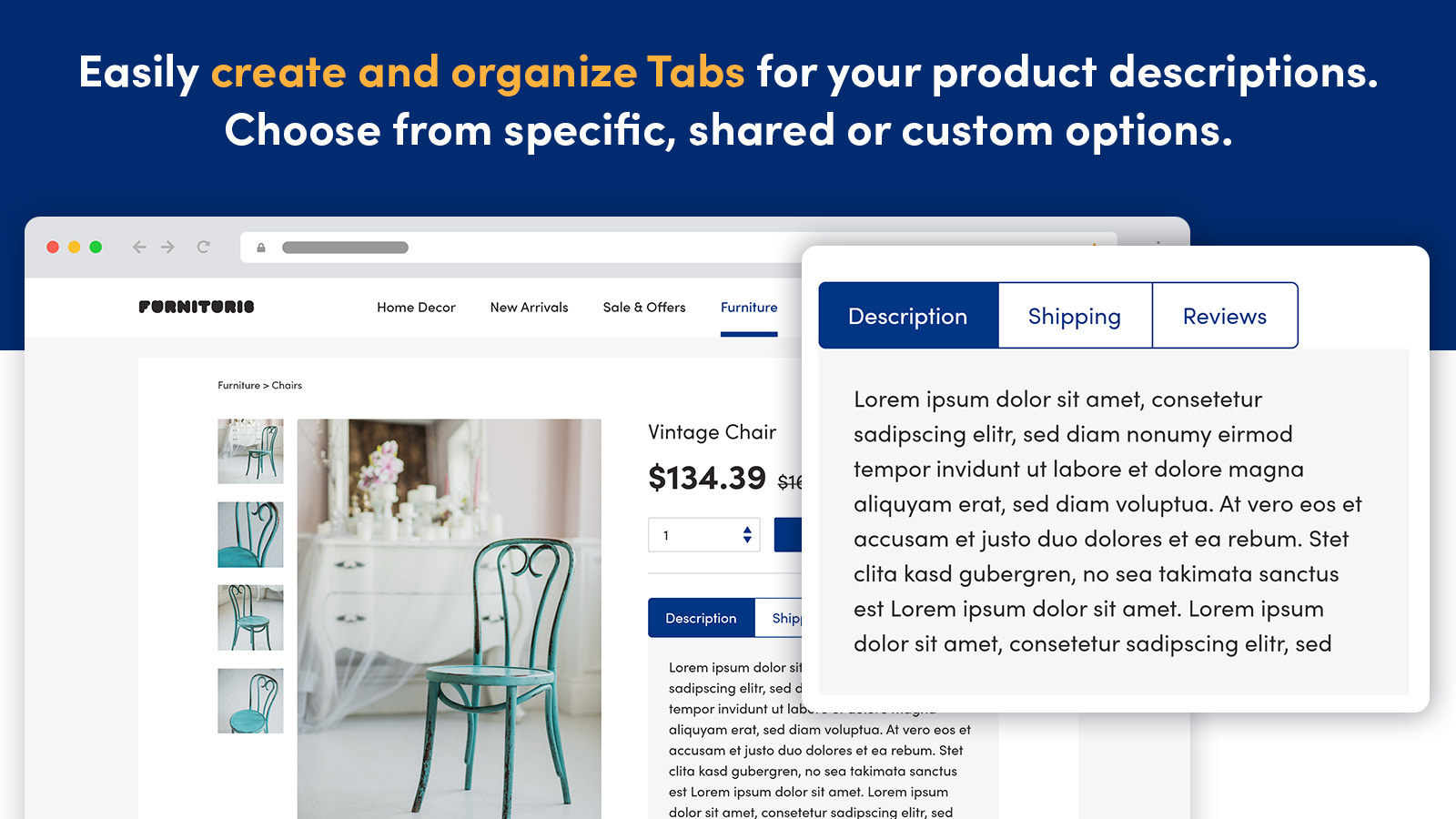 Create Product Tabs Product descriptions Shipping Tabs