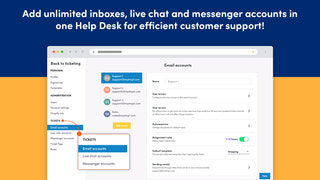 Add unlimited email chat messenger accounts create shared inbox
