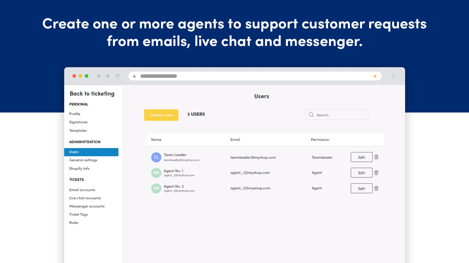 Create unlimited agents. Shipping information tabs