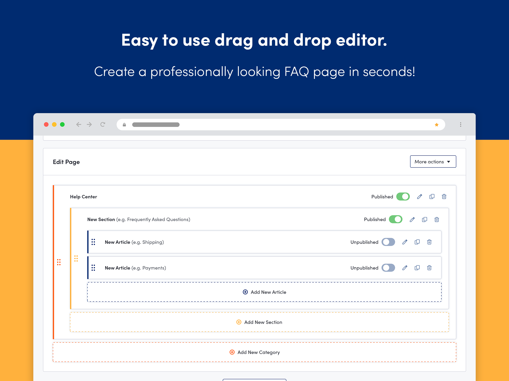Easy to use Drag & Drop editor