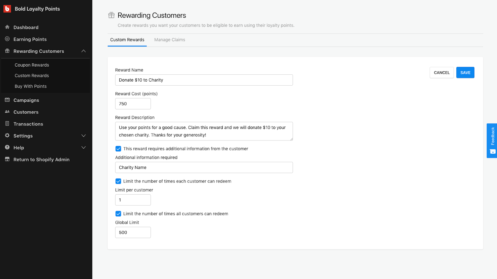Create custom rewards for your customers to get with points