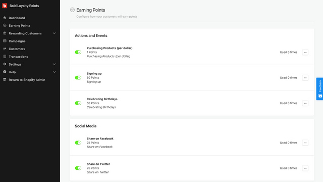 Configure how your customers will earn points