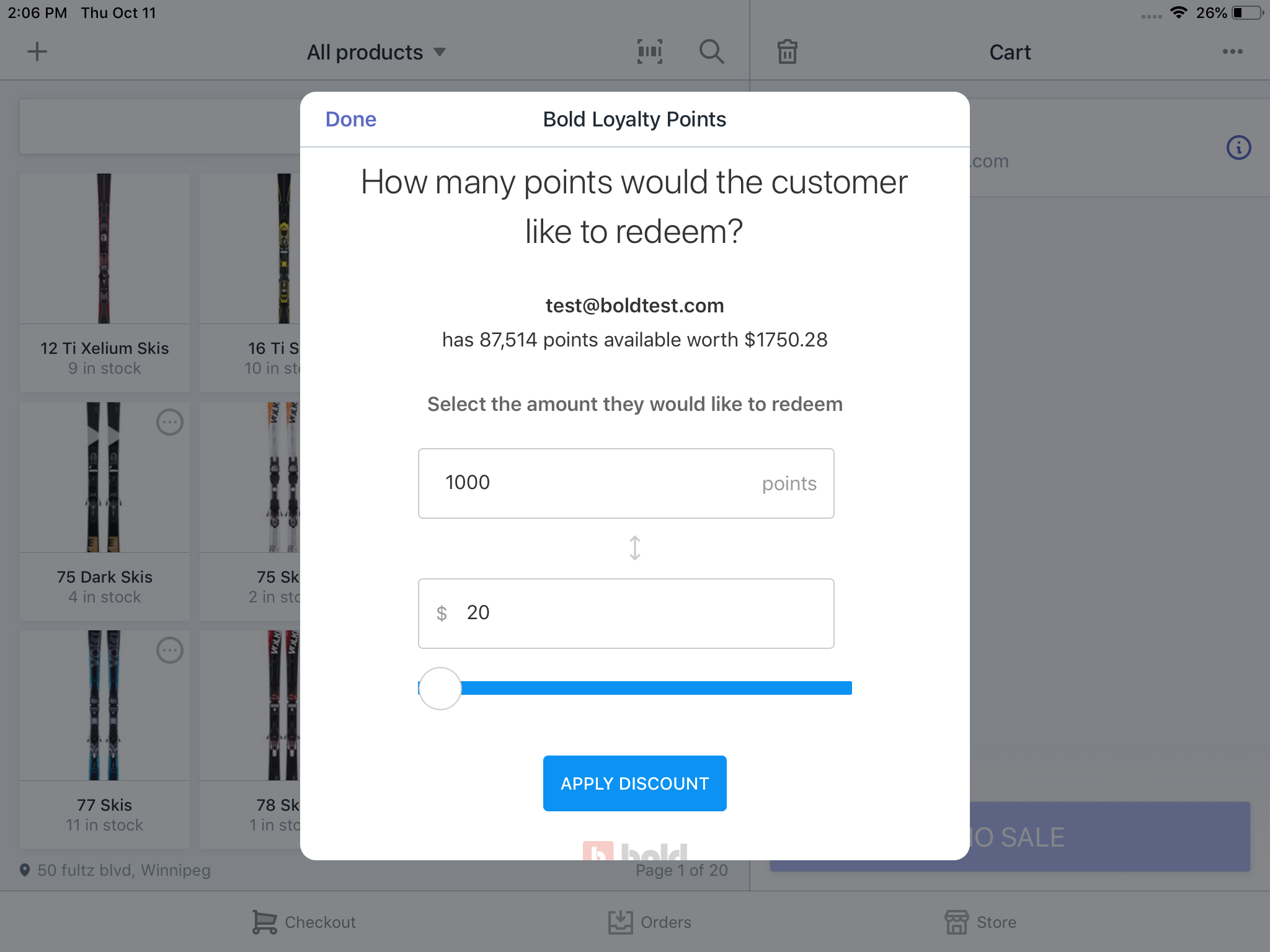 Checking customer's points information