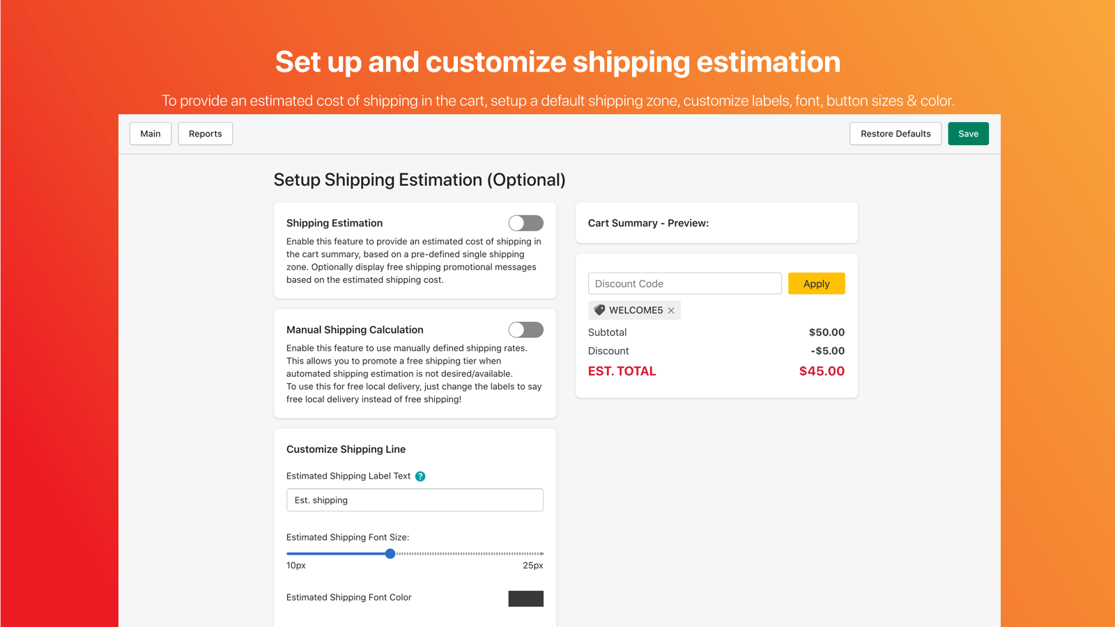 Add Shipping Estimation and Free Shipping Promotion To Cart