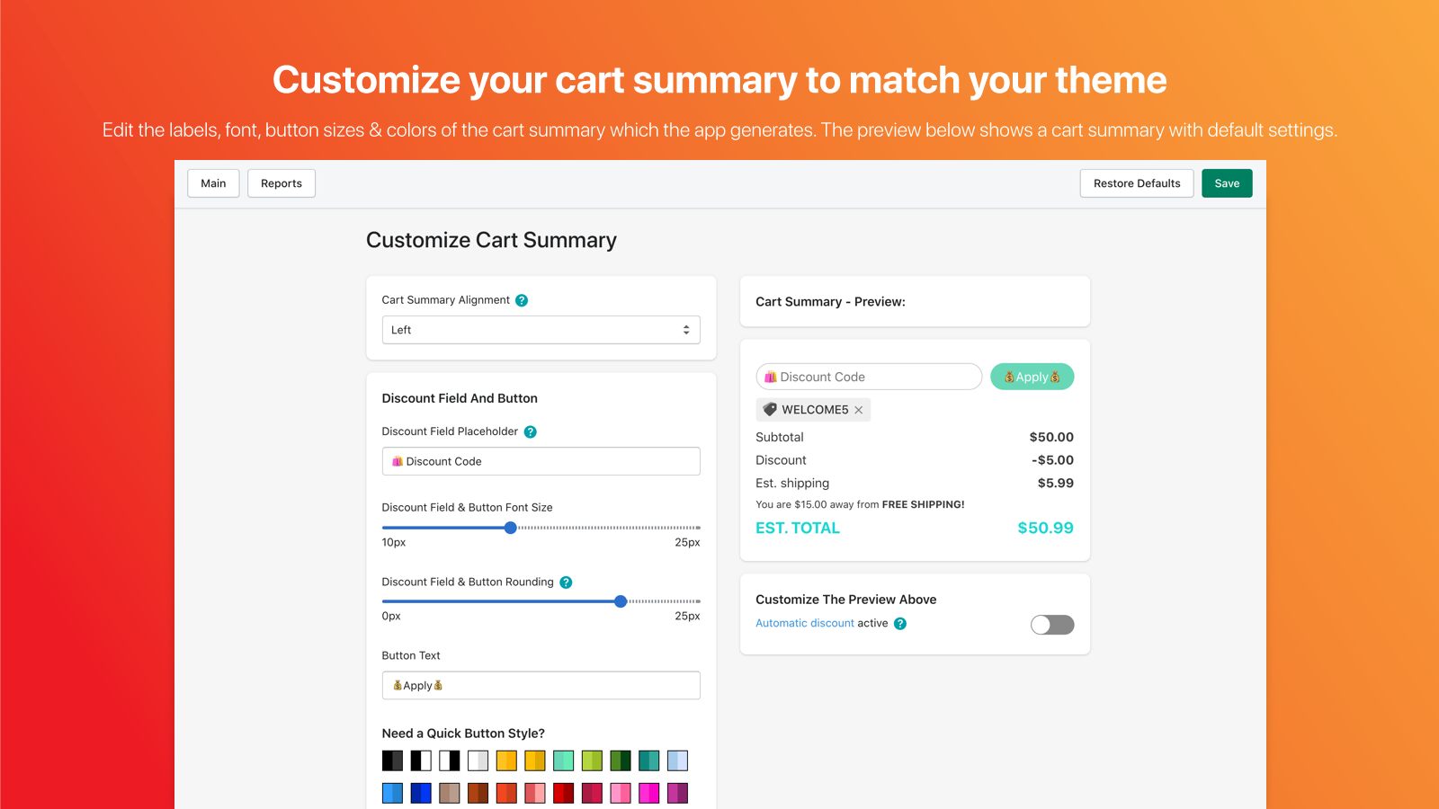 Customize Discount Code Cart Summary to Match Your Theme
