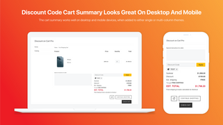 Discount Code On Cart Summary- Looks Great On Desktop And Mobile