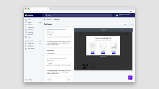 App dashboard with settings