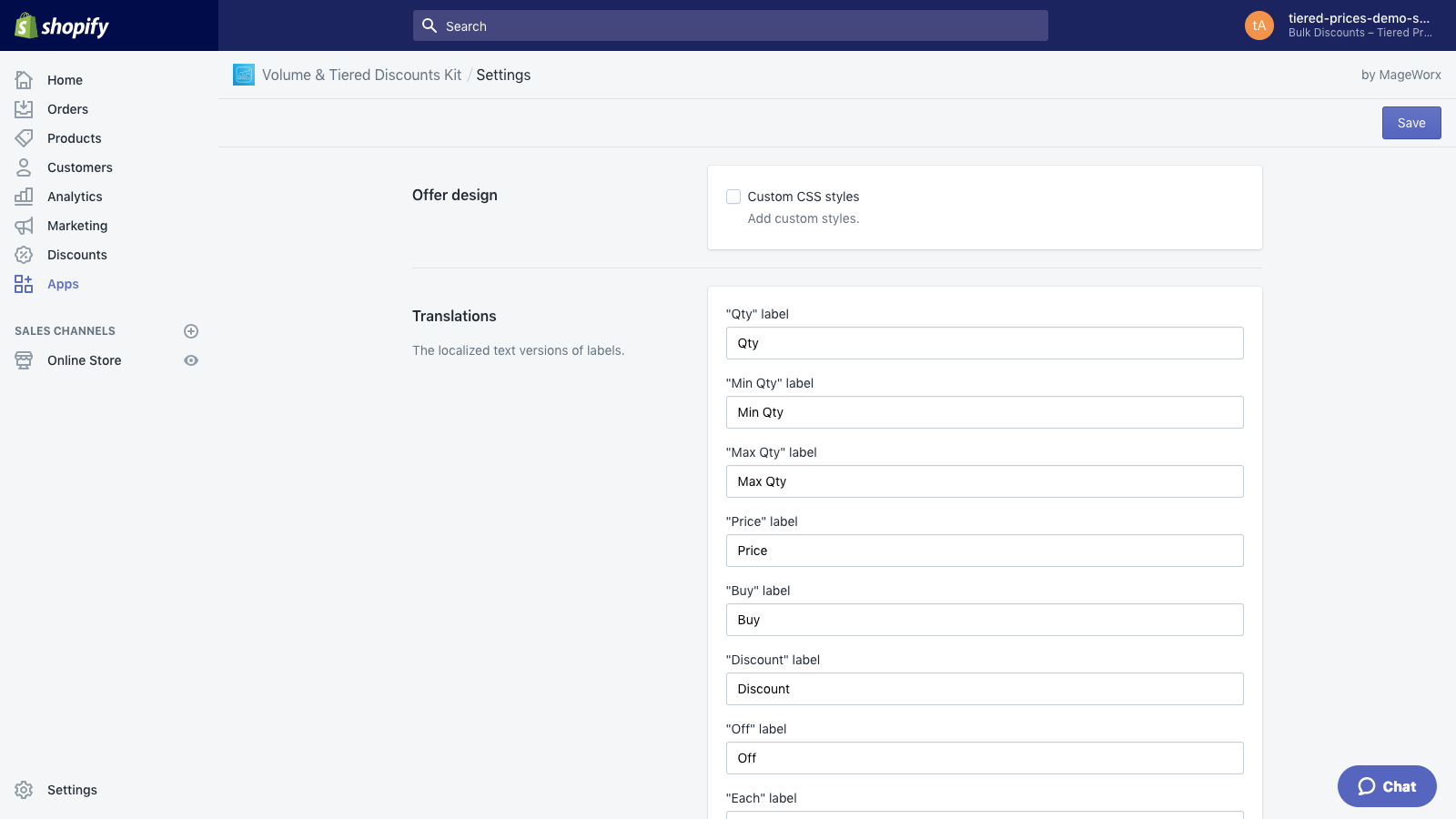 Tiered prices ― Settings