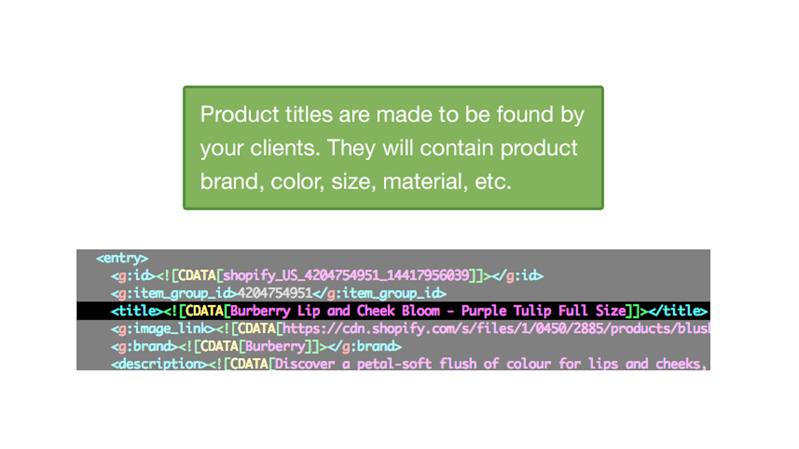 Product titles will contains brand, color, size